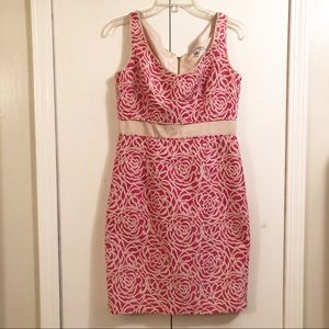 Maggy London Pink and Cream Sheath Dress